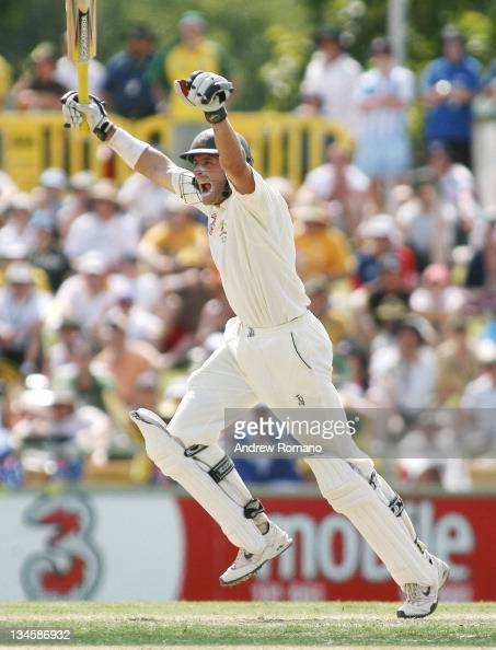 Australia's Michael Hussey celebrates 100 runs during day three of the third Ashes test between Australia and England at the WACA Perth Ground in...