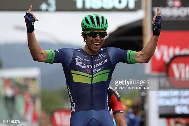 Australia's Michael Matthews celebrates as he crosses the finish at the end og the 197 km tenth stage of the 103rd edition of the Tour de France...