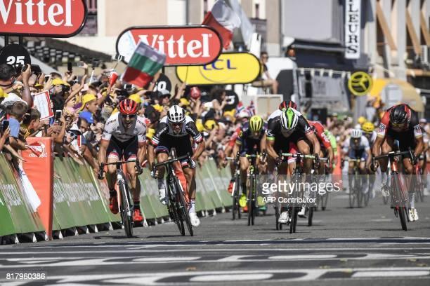Australia's Michael Matthews sprints to win ahead of Norway's Edvald Boasson Hagen Germany's John Degenkolb and Belgium's Greg Van Avermaet at the...