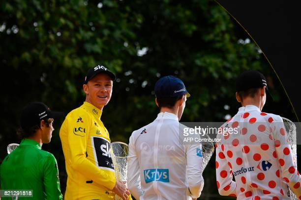Australia's Michael Matthews wearing the best sprinter's green jersey Tour de France 2017's winner Great Britain's Christopher Froome wearing the...