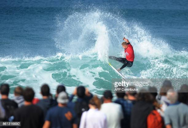 Australia's Mick Fanning competes during the French stage of the World Surf League Championship Tour in Hossegor southwestern France on October 14...