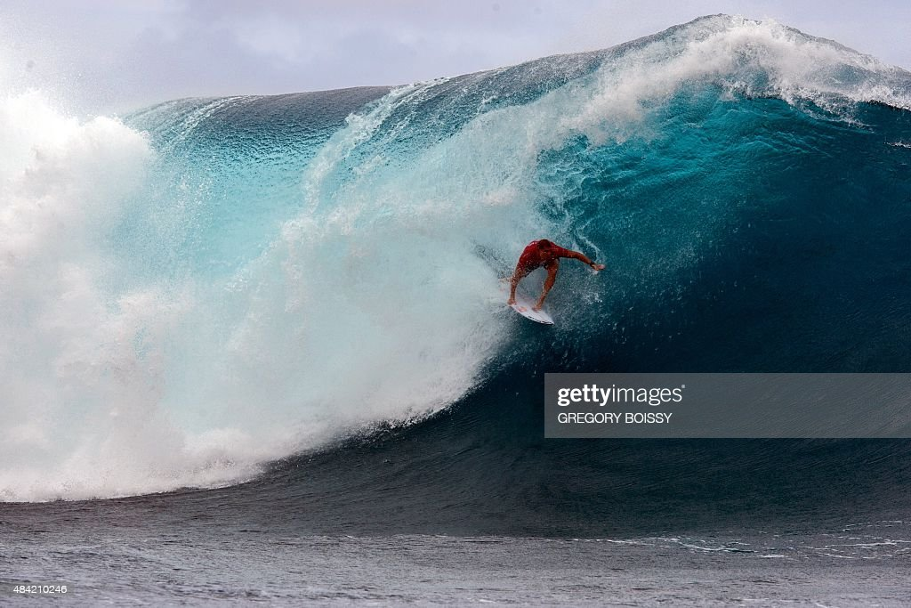 Australia's Mick Fanning competes in the 2015 Billabong Pro Tahiti World Surf league tour no7 along the Teaupoo coast western Tahiti on August 15...