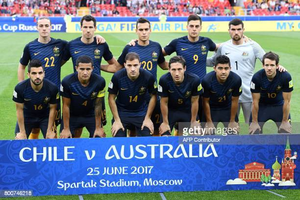 Australia's midfielder Jackson Irvine Australia's defender Ryan McGowan Australia's defender Trent Sainsbury Australia's forward Tomi Juric...