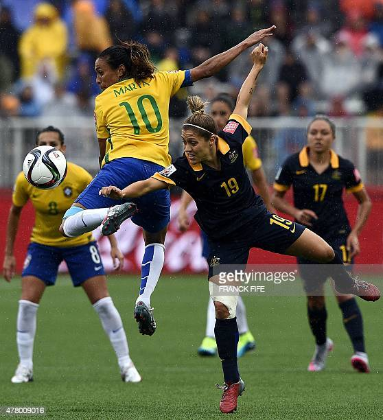 Australia's midfielder Katrina Gorry vies with Brazil's midfielder Marta during their 2015 FIFA Women's World Cup round of 16 match between Brazil...