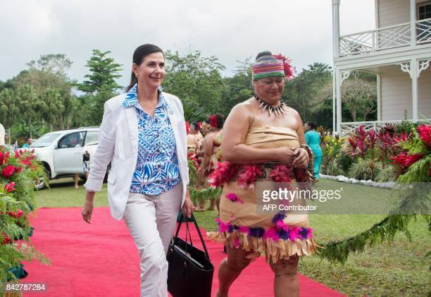 Australia's Minister of International Development Concetta FierravantiWells arrives for the opening of 48th Pacific Islands Forum in Apia Samoa on...