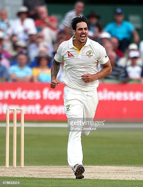 Australia's Mitchell Johnson celebrates after bowling out Ben Harmison of Kent during day two of the tour match between Kent and Australia at The...