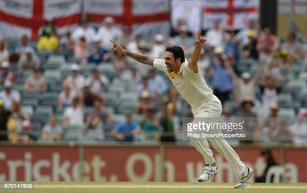 Australia's Mitchell Johnson celebrates after the wicket of England's Tim Bresnan during the 3rd Ashes cricket Test match between Australia and...