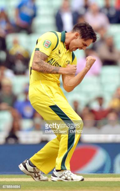 Australia's Mitchell Johnson celebrates taking the wicket of Sri Lanka's Kusal Perera for 4 during the ICC Champions Trophy match at The Kia Oval...