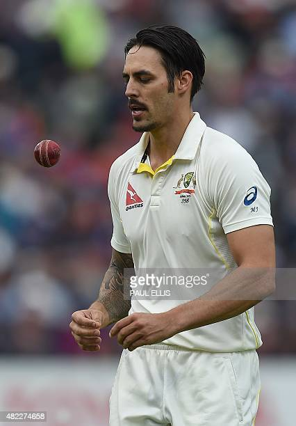 Australia's Mitchell Johnson prepares to bowl on the first day of the third Ashes cricket test match between England and Australia at Edgbaston in...