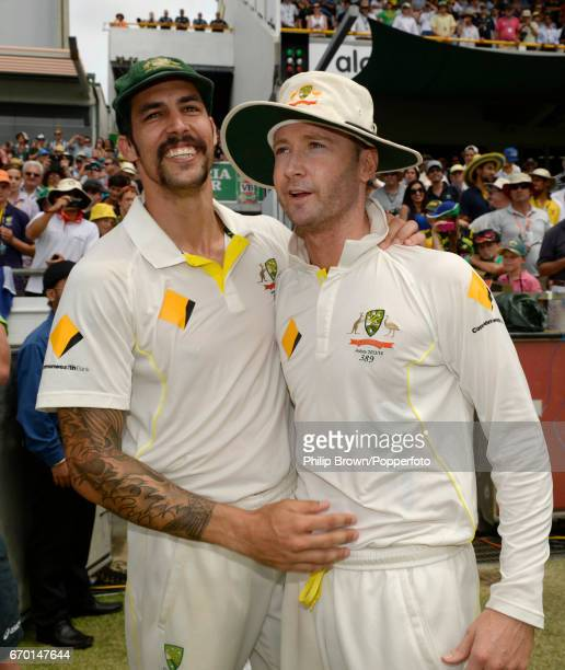 Australia's Mitchell Johnson with captain Michael Clarke after Australia won the 3rd Ashes cricket Test match between Australia and England at the...