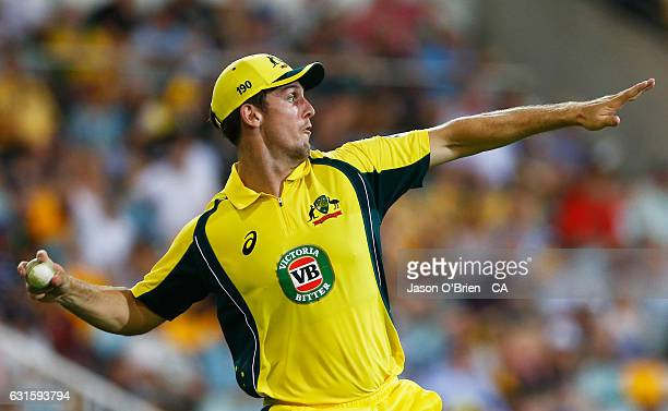 Australia's Mitchell Marsh throws the ball during game one of the One Day International series between Australia and Pakistan at The Gabba on January...