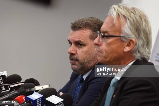 Australia's national football coach Ange Postecoglou speaks at a press conference to announce his resignation beside Football Federation of Australia...
