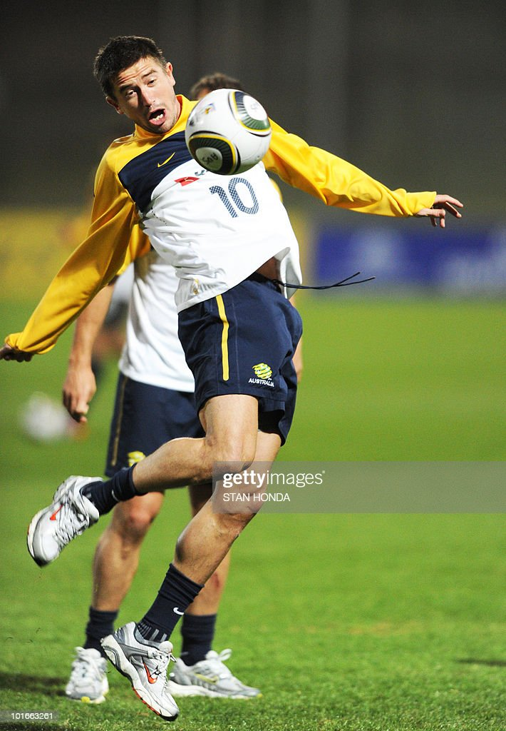 Australia's national football team's striker Harry Kewell controls the ball during a team training session ahead of the start of the 2010 World Cup on June 6, 2010 in Roodepoort.