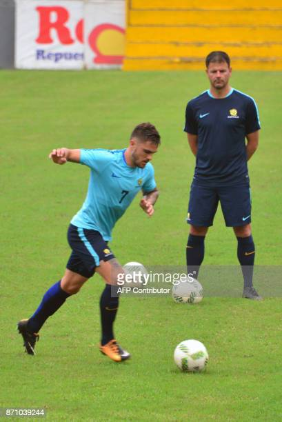 Australia's national team footballer Tom Rogic kicks the ball during a training session at Francisco Morazan stadium in San Pedro Sula 180 kilometres...
