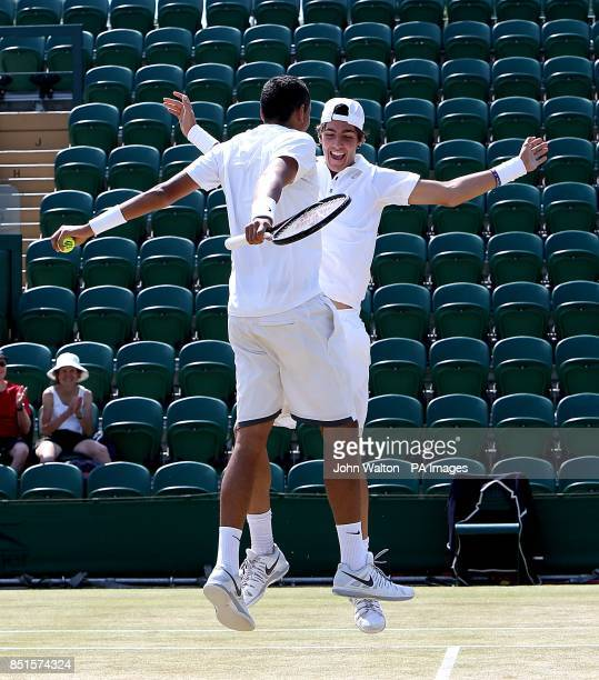 Australia's Nick Kyrgios and Australia's Thanasi Kokkinakis celebrate winning the Boy's Doubles Final