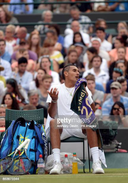 Australia's Nick Kyrgios complains during his match against Canada's Milos Raonic during day ten of the Wimbledon Championships at the All England...