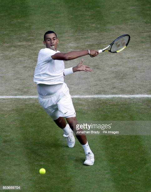 Australia's Nick Kyrgios in action against Spain's Rafael Nadal during day nine of the Wimbledon Championships at the All England Lawn Tennis and...