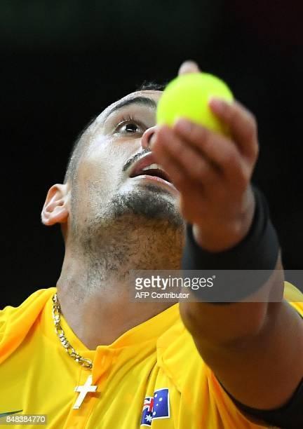 Australia's Nick Kyrgios serves against Belgium's David Goffin during the Davis Cup semifinal tennis match between Belgium and Australia in Brussels...