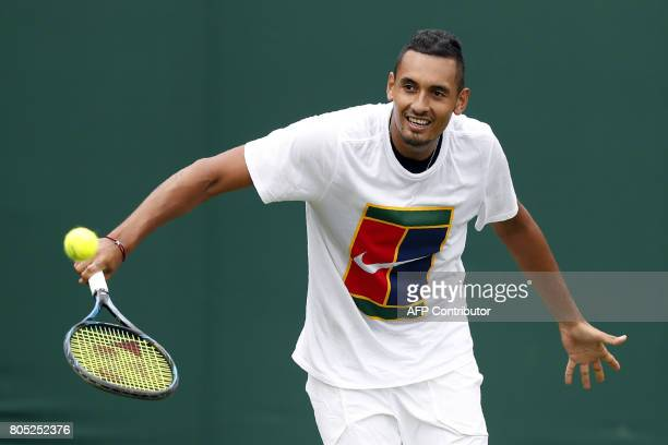 Australia's Nick Kyrgios takes part in a training session at Wimbledon tennis club in southwest London on July 1 prior to the start of the tennis...