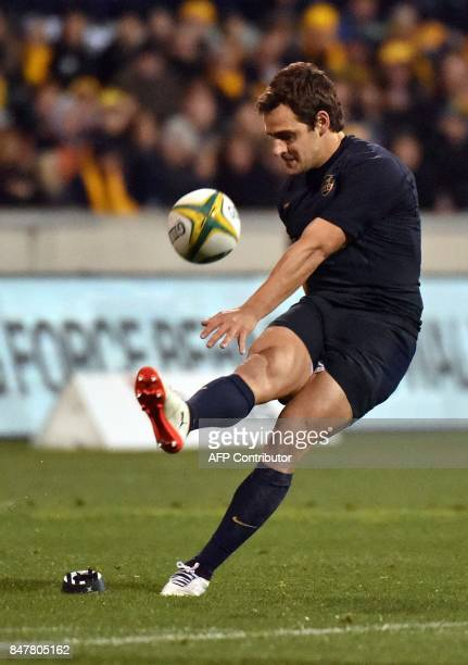Australia's Nicolas Sanchez kicks the ball during the Rugby Championship match between Australia and Argentina in Canberra on September 16 2017 / AFP...