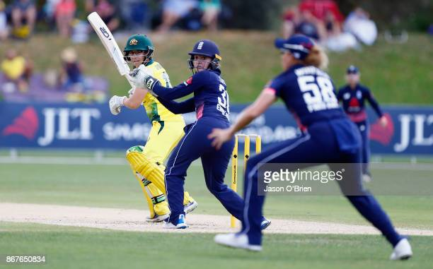 Australia's Nicole Bolton plays a shot during the Women's International One Day match between Australia and England on October 29 2017 in Coffs...