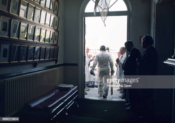 Australia's opening batsmen Mark Taylor and Matthew Elliott walk out to bat during the 5th Test match between England and Australia at Trent Bridge...