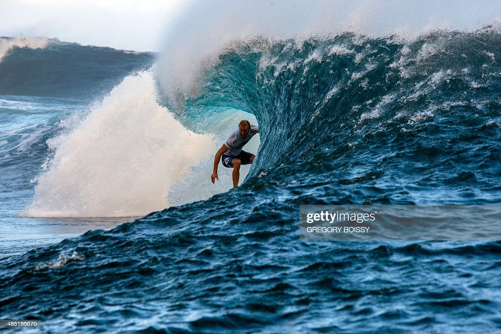 Australia's Owen Wright competes in the 2015 Billabong Pro Tahiti World Surf league tour n°3 along the Teahupo'o coast western of the French...