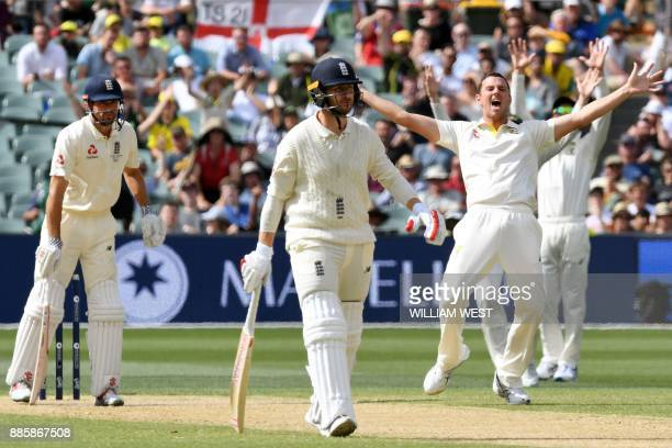 Australia's paceman Josh Hazlewood appeals for an LBW decision against England's batsman Alastair Cook on the fourth day of the second Ashes cricket...