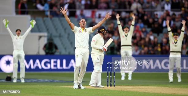 Australia's paceman Josh Hazlewood appeals with teammates for a decision against England's batsman Mark Stoneman on the second day of the second...