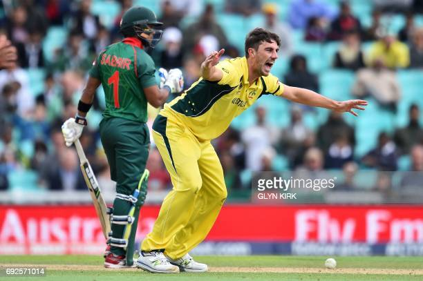 Australia's Pat Cummins unsuccessfully appeals for the wicket of Bangladesh's Sabbir Rahman during the ICC Champions Trophy match between Australia...