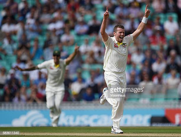Australia's Peter Siddle takes the final wicket of Moeen Ali during the fourth day of the 5th Investec Ashes Test between England and Australia at...
