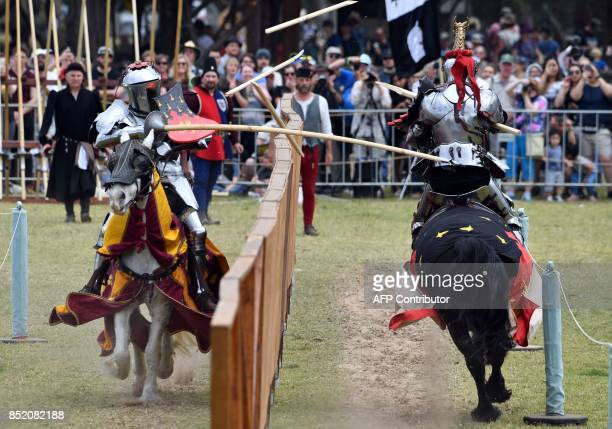 Australia's Phillip Leitch and Dominic Sewell of Britain compete in the inaugural World Jousting Championship at the St Ives Medieval Faire in Sydney...
