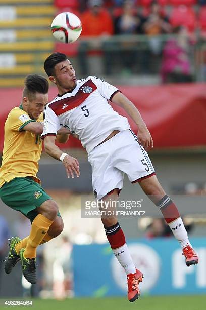 Australia's player Jonathan Vakirtzis vies for the ball with Erdinc Karakas of Germany during their FIFA U17 World Cup Chile 2015 football match at...