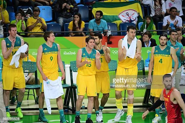 Australia's power forward Brock Motum Australia's forward Ryan Broekhoff Australia's guard Damian Martin Australia's guard Kevin Lisch Australia's...