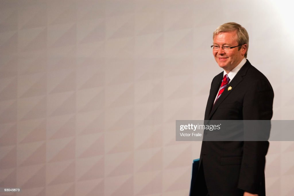 Australia's Prime Minister Kevin Rudd attends the second day of the Asia Pacific Economic Cooperation CEO Summit at Suntec Singapore International...