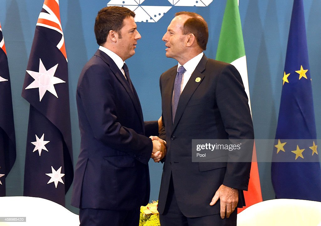 Australia's Prime Minister <a gi-track='captionPersonalityLinkClicked' href=/galleries/search?phrase=Tony+Abbott&family=editorial&specificpeople=220956 ng-click='$event.stopPropagation()'>Tony Abbott</a> (R) greets Italy's Prime Minister <a gi-track='captionPersonalityLinkClicked' href=/galleries/search?phrase=Matteo+Renzi&family=editorial&specificpeople=6689301 ng-click='$event.stopPropagation()'>Matteo Renzi</a> (L) during a bilateral meeting at the G20 Leaders' Summit on November 15, 2014 in Brisbane, Australia. World leaders have gathered in Brisbane for the annual G20 Summit and are expected to discuss economic growth, free trade and climate change as well as pressing issues including the situation in Ukraine and the Ebola crisis.
