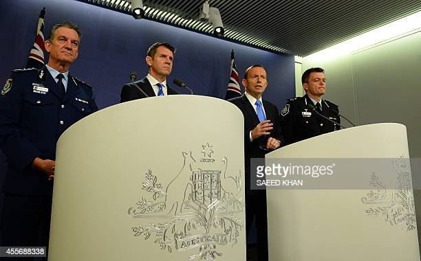 Australia's Prime Minister Tony Abbott speaks at a joint press conference with New South Wales Police Commissioner Andrew Scipione New South Wales...