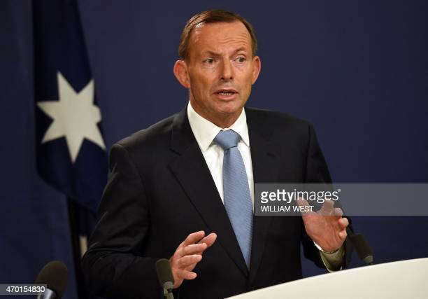 Australia's Prime Minister Tony Abbott speaks to the media in Sydney on April 18 after two men were arrested in Melbourne for allegedly planning an...