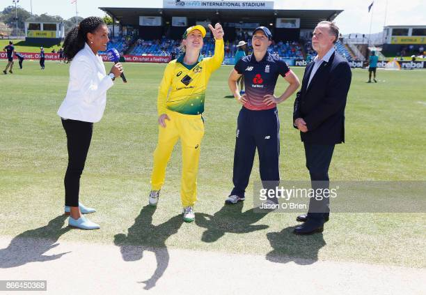 Australia's Rachael Haynes and England's Heather Knight during the toss during the Women's One Day International match between Australia and England...