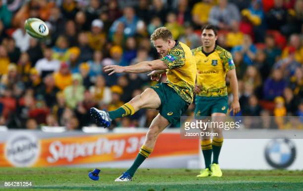 Australia's Reece Hodge kicks a penalty during the Bledisloe Cup match between the Australian Wallabies and the New Zealand All Blacks at Suncorp...