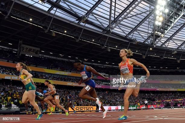 Australia's Sally Pearson wins ahead of Netherlands' Nadine Visser US athlete Kendra Harrison Germany's Pamela Dutkiewicz in third and US athlete...