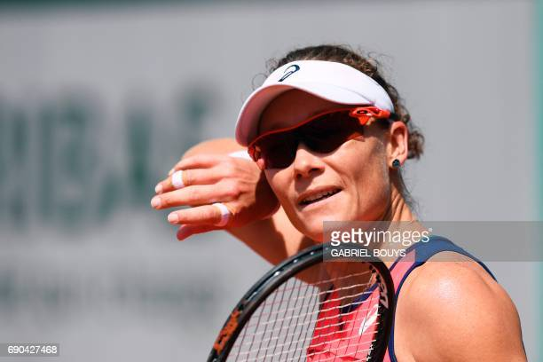 Australia's Samantha Stosur looks on during her tennis match against Belgium's Kirsten Flipkens at the Roland Garros 2017 French Open on May 31 2017...