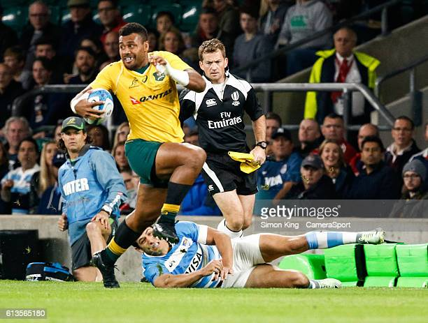 Australia's Samu Kerevi during the Rugby Championship match between Argentina and Australia at Twickenham Stadium on October 8 2016 in London England
