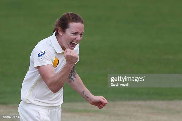 Australia's Sarah Coyte celebrates after dismissing Heather Knight of England during day four of the Kia Women's Test of the Women's Ashes Series...