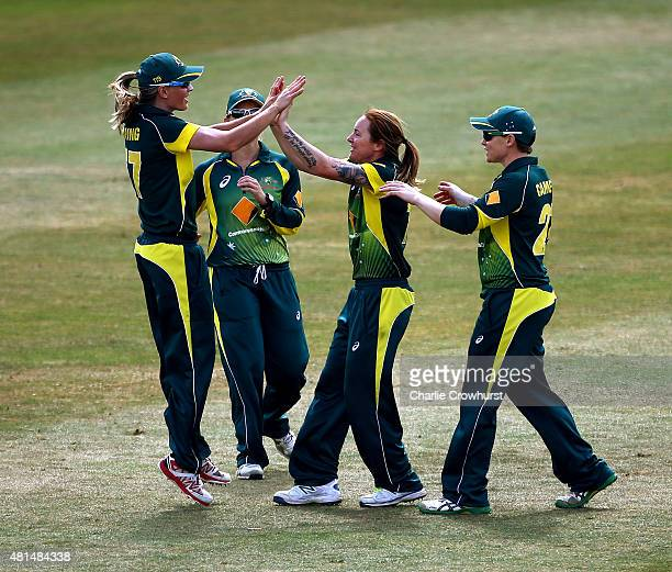 Australia's Sarah Coyte celebrates with Meghann Lanning after taking the wicket of England's Heather Knight during the 1st Royal London ODI of the...