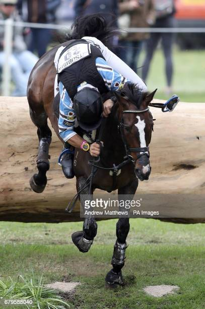 Australia's Shane Rose on Shanghai Joe loses his stirrup as he jumps fence 15 during the cross country phase on day four of the 2017 Badminton Horse...