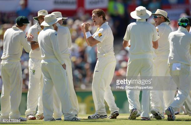 Australia's Shane Watson celebrates after the decision review confirmed the dismissal of England's Joe Root during the 3rd Ashes cricket Test match...