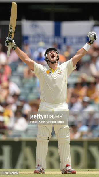 Australia's Shane Watson celebrates reaching his century during the 3rd Ashes cricket Test match between Australia and England at the WACA cricket...