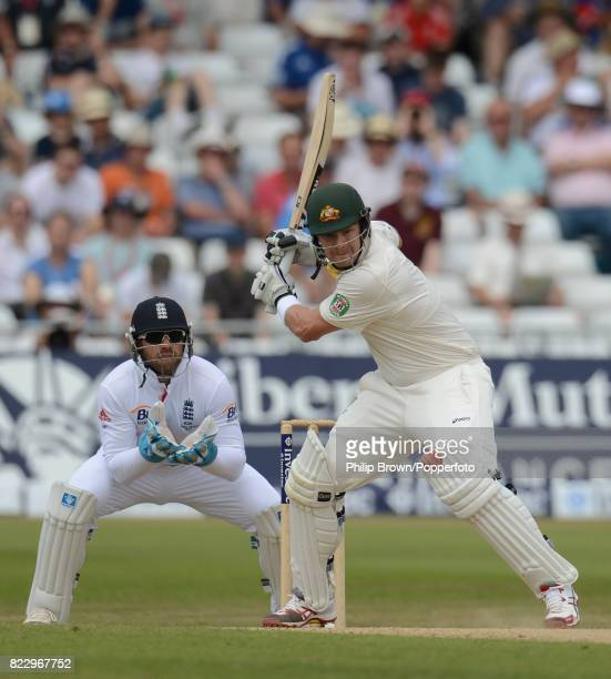 Australia's Shane Watson prepares to play a shot during his innings of 46 runs watched by England's Matt Prior in the 1st Test match between England...