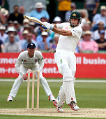 Australia's Shaun Marsh hits out during day one of the tour match between Kent and Australia at The Spitfire Ground St Lawrence on June 25 2015 in...